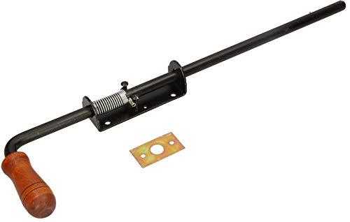 KOTARBAU Pestillo con muelle, 480 mm, pestillo para puerta, cerrojo para puertas de color negro, inoxidable, mango de madera, resistente a la intemperie, con suspensión, pestillo para puertas lisas