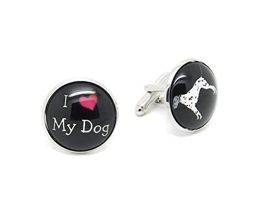 Label-Cravate Boutons de manchettes homme vintage fantaisie « I love my dog - J'aime mon chien »