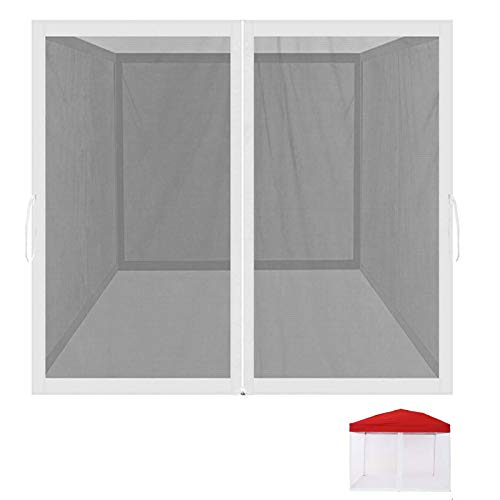 Mosquito Netting Outdoor Screen House Tent Screen Wall with Zipper for Camping, Patio, 10x 10 Gazebo and Tent (Mosquito Net Only White)
