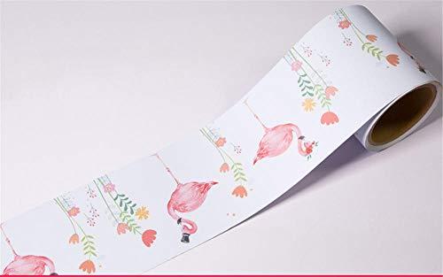 Cenefas de papel pintado autoadhesivas Flamenco PVC Cenefa autoadhesiva Impermeable be móvil para baño Cocina Decoración Etiqueta de la Pared 12CM X 300CM