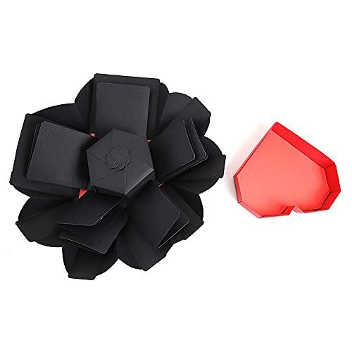 YSJJBTS Caja de Regalo de Chocolate Sorpresa Foto explotación Cajas húmedo Hexagonal cumpleaños Perfume cosmético álbum Bricolaje Caja de Regalo para el día de Aniversario. (Color : Style B Black)