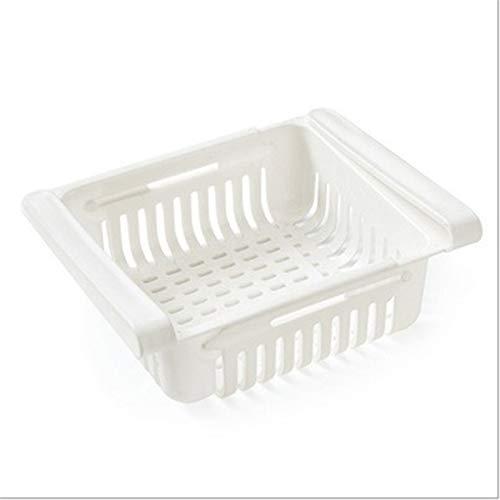 Unknow QIWei Organizador de cajones para frigorífico Cajón retráctil Caja de Almacenamiento para frigorífico Contenedores extraíbles Soporte para Estante de frigorífico clasificable,Blanco