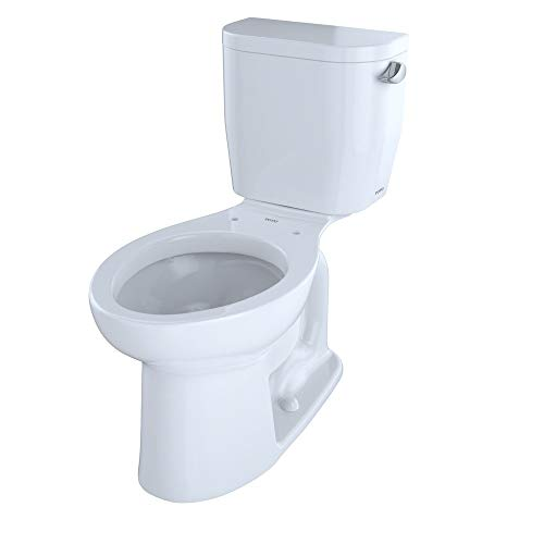 TOTO CST244EFR#01 Entrada Two-Piece Elongated 1.28 GPF Universal Height Toilet with Right-Hand Trip Lever, Cotton White