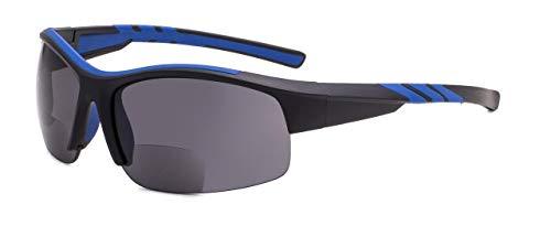 Eyekepper TR90 Unzerbrechlich Sport Bifokal Halbrand Sonnenbrille Baseball Laufen Angeln Fahren Golf Weicher Ball Wandern Schwarz-Blau Rahmen +1.75