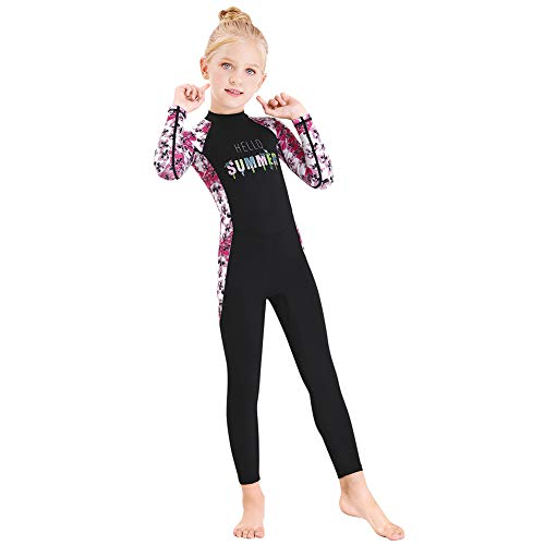 Full Body Kids Swimsuit One Piece Rash Guard Long Sleeve Wetsuit Skin for Girls Boys Children, Sunsuit Swimwear UPF 50+ UV Sun Protection Quick Dry for Beach Water Sports (Flower-Black, XL)