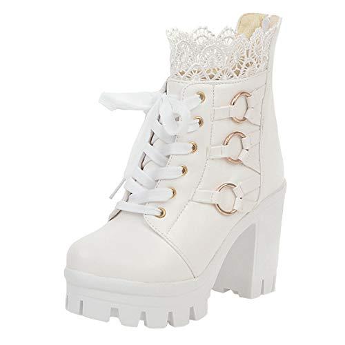MISSUIT Damen Schnür Ankle Boots Blockabsatz Plateau High Heels Stiefeletten mit Schnürung und Reißverschluss hinten Spitze Schuhe(Weiß,38)