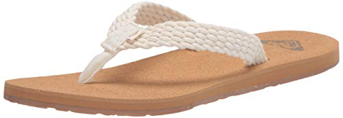 Roxy Women's Porto Sandal Flip Flop, Natural, 8 M US