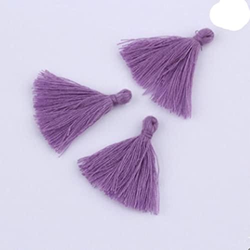 100PC 3CM Mini Hilo de algodón Borla de Tela DIY Colgante Joyería Pulsera Fabricación de Llaves Borde de Flecos Artesanía Borlas Accesorios de Costura-Púrpura
