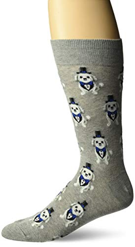 Hot Sox Men's Wedding Bliss Novelty Casual Crew Socks, Tuxedo dog (grey Heather), Shoe Size: 6-12