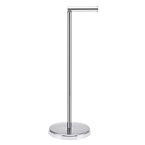Toilettenpapierhalter stehend,Oberflächenbehandlung aus verchromtem Stahl,Toilettenpapierhalter-Spender mit schwerem Boden,19x19x55cm,für Badezimmer, Der obere Halter 13cm