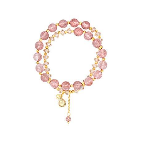 Pulsera De Cristal De Fresa Con Diseño De Nicho En Plata De Ley Conjunto de 2 piezas rosa