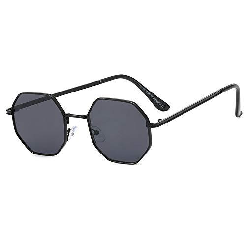 NJJX Polygon Gafas De Sol Hombre Vintage Octagon Metal Gafas De Sol Para Mujer Gafas De Sol Gafas De Sol Señoras Negro