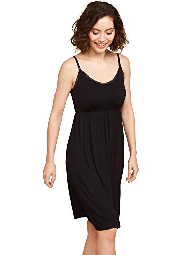 Motherhood Maternity Women's Maternity Lace Trim Nursing Nightgown, Black, Medium
