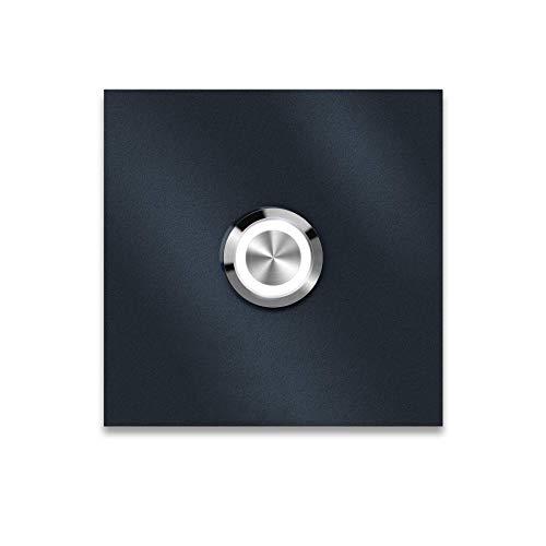 Metzler Moderne Türklingel in Anthrazit (RAL 7016) - Quadratische LED-Türklingel - Edelstahl Türklingel inkl. Gravur - Größe & LED Drucktaster wählbar