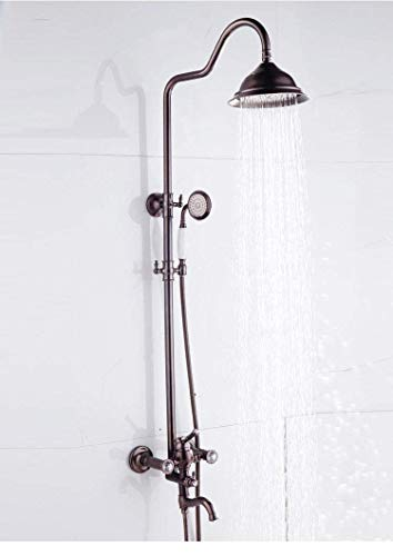 LQXZHS-douche bruine brons alle koperen ventielbehuizing handdouche doucheset Europees bad badkamer thermostaat badkuip douche mengkraan