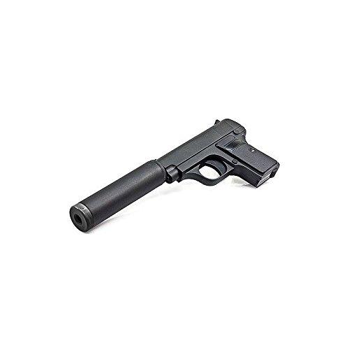 Galaxy Pistola para airsoft Mini Colt 25 de resorte con silenciador y culata cilíndrica de metal de 0,5 julios