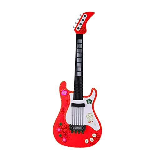 Foxom Guitarra Electrica Niños - Infantil Guitarra Rock Guitarra Juguetes Sin Cuerdas - Instrumento Musical para Niño y Niña de 3 años + (Rojo)