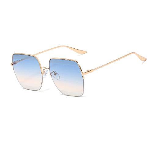 Nbrand Mujer Vintage Gradient Half Frame Espejo Gafas de Sol cuadradas Gafas Azul
