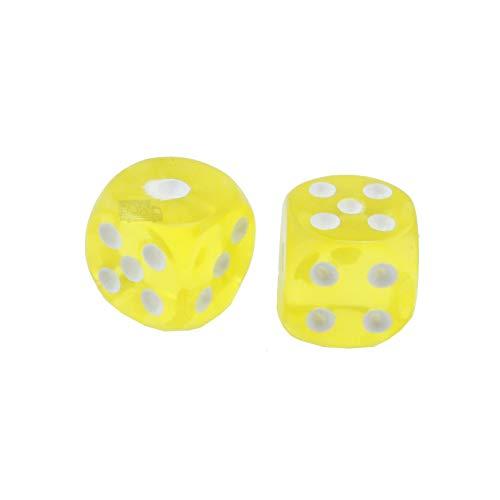 FunGam Juego de 2 dados amarillos con caras poliétricas de juego de 1 a 6 mesas.