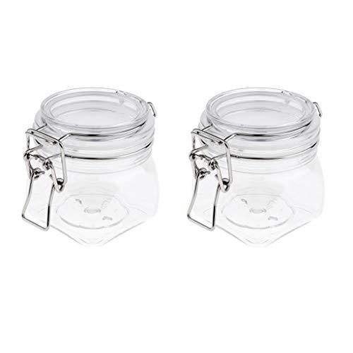 perfeclan Bocal En Plastique Hermétique En Plastique De 2pcs Pour La Crème/Lotion De Maquillage - Bidons Avec Des Couvercles Pour Le Café