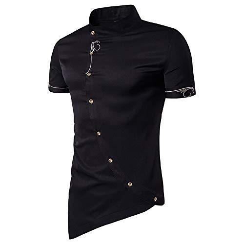 Camisa Ajustada para Hombre, Tapeta Diagonal, Dobladillo Triangular, Color sólido, Manga Corta, Cuello Alto, Camisa Informal con Personalidad Medium