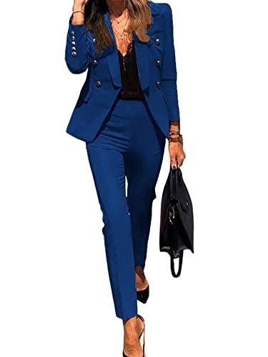 Mujer Blazer Y Pantalones Dos Piezas Set Elegantes Manga Larga Slim Fit Chaqueta De Traje Oficina Negocios Conjunto A Azul 36