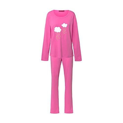Montse Interiors - Schlafanzug für Frauen, Größe: L | weicher Pyjama mit Langer Hose und langarmigen Oberteil, Warmer Schlafanzug mit Wolken-Motiv - Design: Cloud - Rosa
