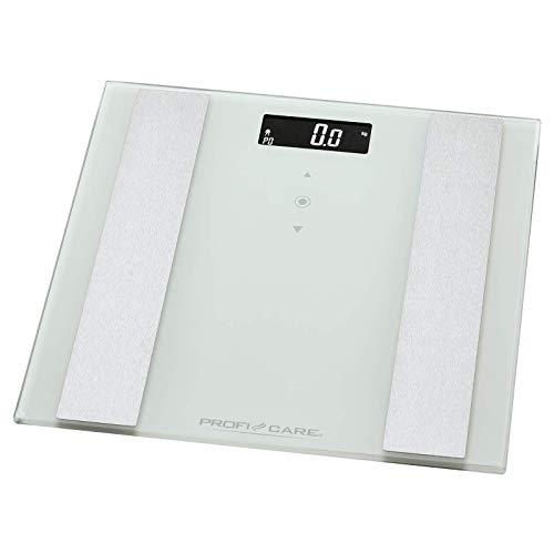 ProfiCare PW 3007 - Báscula baño digital con análisis corporal de 8 funciones diagnóstico, color blanco inox