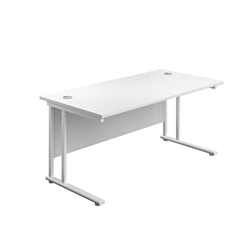 Office Hippo Professional Cantilever Office Desk, Wood, White, White Frame, 140 x 80 x 73 cm