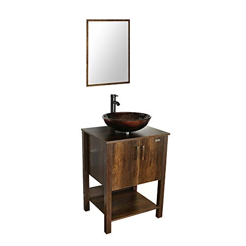 U-Eway 24' Brown Wood Bathroom Vanity Cabinet Solid Glass Sink Bowl Stand Cabinet Modern Contemporary Design 1.5 GPM ORB Faucet and Pop Up Drain,B12CA09