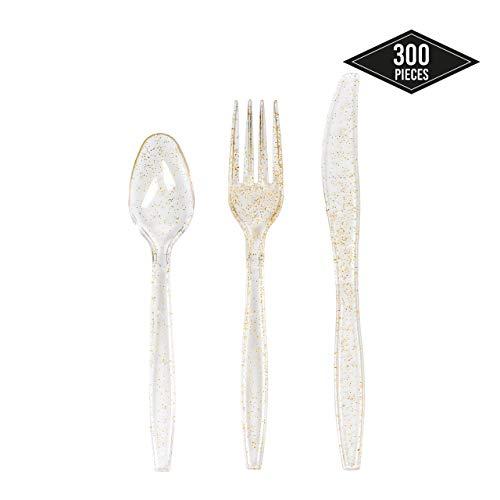 MATANA 300 Premium Wegwerp Glitter Bestek Set - Stevige Plastic Feestbenodigdheden| 100 Lepels 100 Messen 100 Forks| Niet-giftig & 100% BPA-vrij| Perfect voor bruiloften Catering Verjaardagsfeesten.