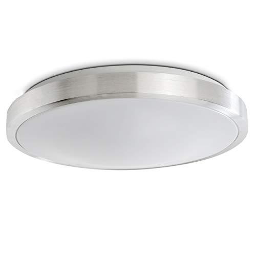 LED Deckenleuchte Wutach, runde Deckenlampe aus Metall in Alu gebürstet, 1 x 12 Watt, 900 Lumen, Lichtfarbe 3000 Kelvin (warmweiß), IP 44, auch für das Badezimmer geeignet
