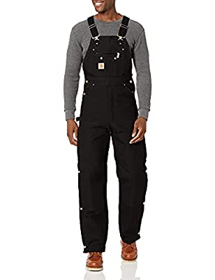 Carhartt mens Quilt Lined Zip to Thigh Bib overalls and coveralls workwear apparel, Black, 36W x 34L US