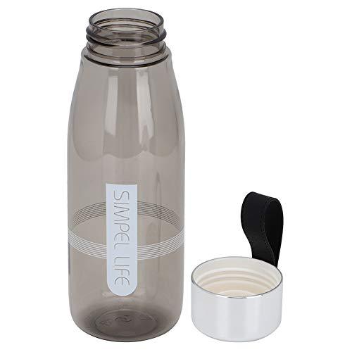 Oumefar Stilvolle transparente 480ml Trinkbecher Wasserflasche zum Wandern für zu Hause(Gray)