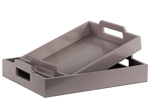 Urban Trends Wood Rectangular Serving Tray with Cutout Handles Coated Finish (Set of 2), Gray