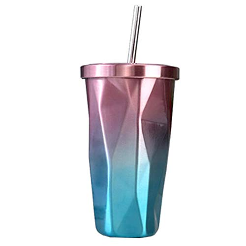 Art jian Tasse à café, Stainless Steel Tasse à Thé, Mug Isotherme, résistant à la Chaleur Tasse Mug, idéale pour Café ou Feuilles de Thé, Paille en Acier Inoxydable,Rose