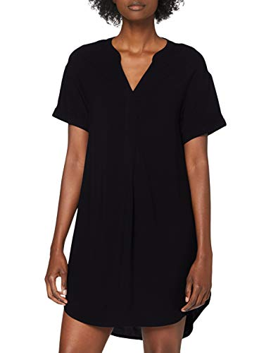 ONLY Damen Onlnova Life S/S V-Neck Dress SOLID WVN Kleid, Black, 36