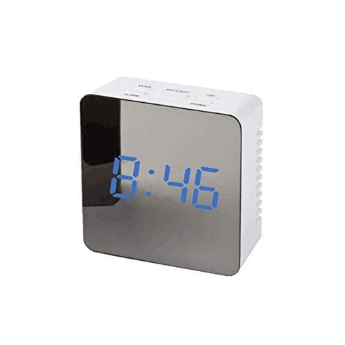 Mdsfe Espejo Creativo Reloj Despertador Multifuncional Snooze Espejo LED Reloj Despertador Termómetro Reloj de Pared Digital Luz LED Carga USB - 5, a1