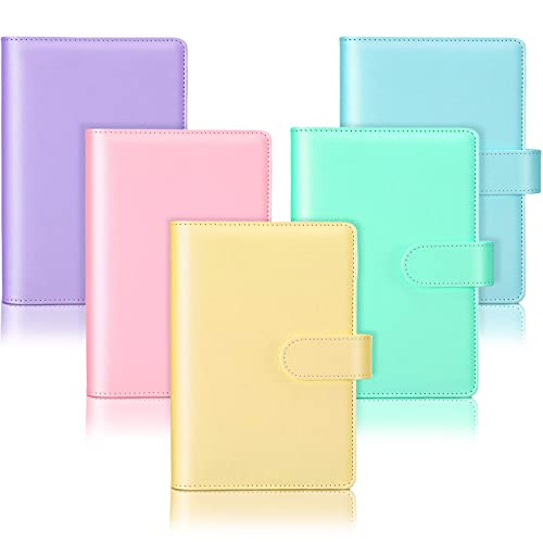 5 Pieces A6 PU Leather Notebook Binder Refillable 6 Rings Binder Cover Loose Leaf Personal Planner with Magnetic Buckle Closure, Blue, Purple, Pink, Green, Yellow