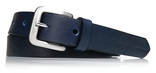 almela - Cinturón de niño y niña- Piel vacuna - Vaquetilla - 2,5 cm de ancho - Cuero - 25mm - Correas infantiles (Azul Marino, 65)