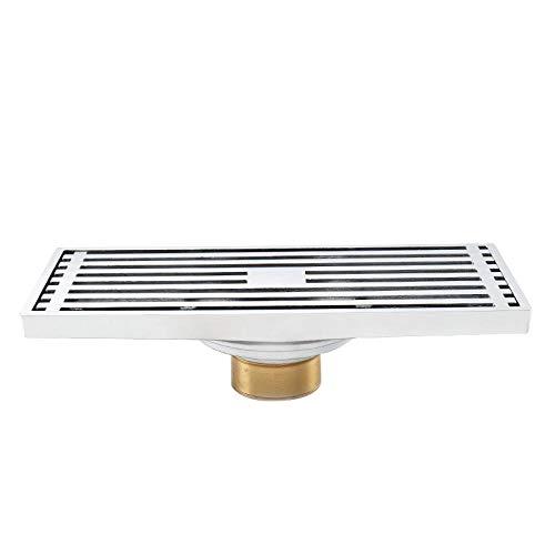 WDYKYQAl Bodenablauf Duscheverdickter Rechteckiger Fußbodenablauf Aus Kupfer Für Das Haushaltsbad Deodorant-Fußbodenablauf Schöner Anti-Blocking-Streifen-Fußbodenablauf-Typ T