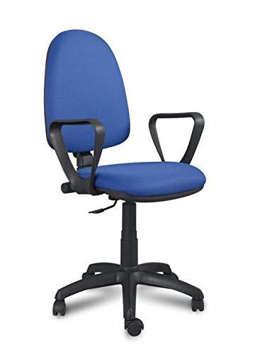 Silla Oficina con Brazos Color Azul. Modelo Salorino