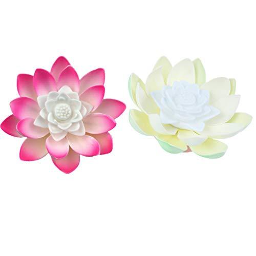 PIXNOR 2 Stücke Teichlicht Lotus Licht LED Kerzen Schwimmende Blumen Lotusblume Künstliche Seerosen Lotusblüte Lotusblatt Teichbeleuchtung Weihnachten Pool Lampe für Teich Garten Deko
