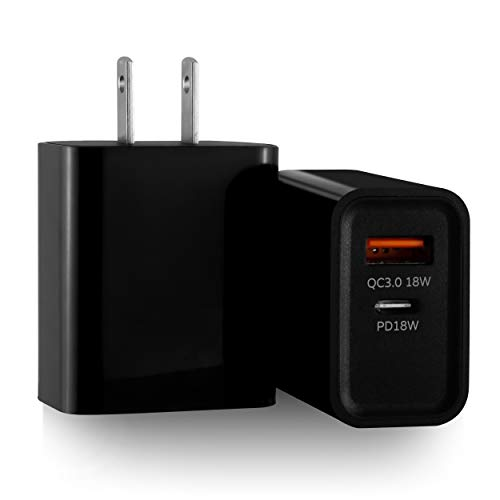 [2-Pack] Dual-Port Fast Charger,18W USB-A & Type-C Wall PD Charger w/QC 3.0 & Comparable Performance to 20W Power Adapters, Compatible with iPhone, iPad, Samsung, Google Pixel, etc.