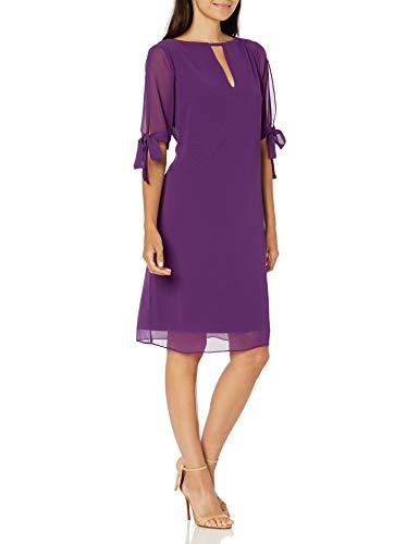 Marca Amazon - TRUTH & FABLE Vestido Evasé de Gasa Mujer, Morado (Purple), 48, Label: 3XL