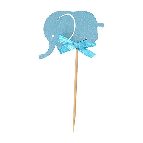 Kartki papierowe na ciasto, słodkie słonie, dwustronne kartki papierowe na babeczki dekoracja na przyjęcie dla dziecka, urodziny (niebieski)
