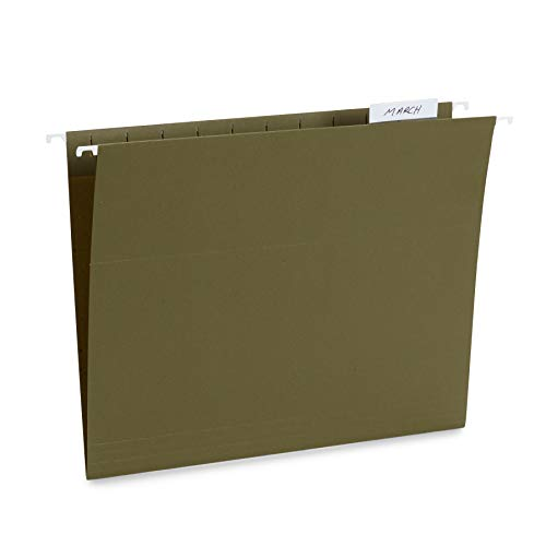 Blue Summit Supplies 25 Hanging File Folders, Reinforced Hanging Folders, Standard File Folders for Filing Cabinet, Letter Size, Green, 25 Pack