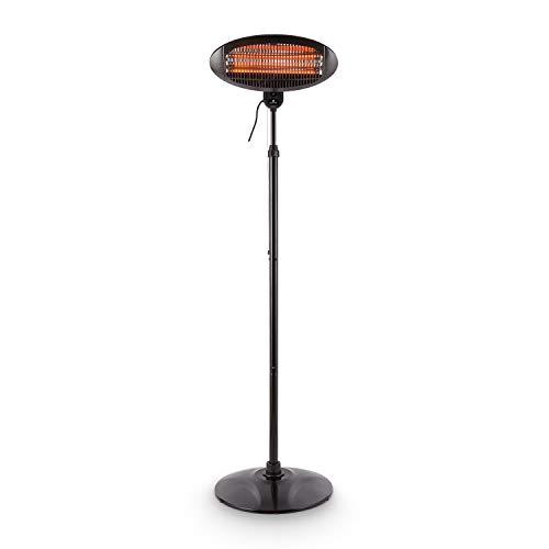 Blumfeldt Shiny Hot Roddy Estufa de terraza - Calefactor de pie Infrarrojo, Radiador de Calor para Patio, 2000 W MAX, 3 Tubos calefactores en Cuarzo, 3 Niveles, hasta 15 m2, Negro