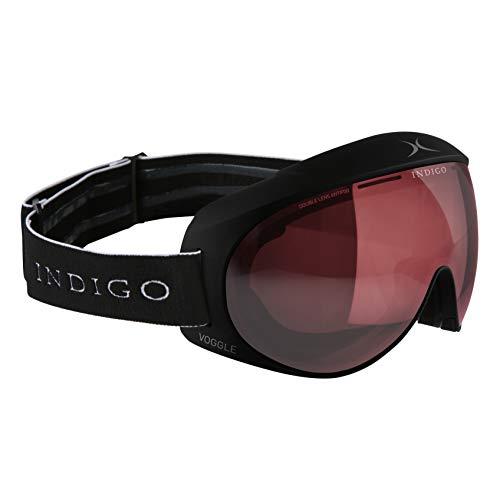 Indigo Voggle Photochromatic Polarized | Standard Fit | Schwarz | Ski & Snowboard Brille | Hochwertige Qualität