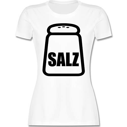 Karneval & Fasching - Salz Karneval Kostüm - M - Weiß - salz Shirt - L191 - Tailliertes Tshirt für Damen und Frauen T-Shirt